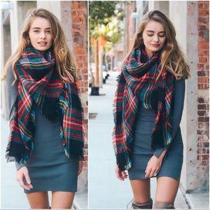 Infinity Raine Accessories - Black plaid blanket scarf